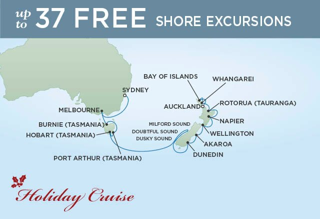 Regent Cruises | 16-Nights from Sydney to Auckland Cruise Iinerary Map