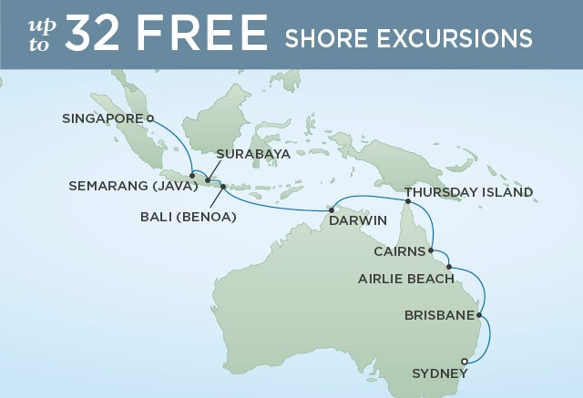 Regent Cruises | 18-Nights from Singapore to Sydney Cruise Iinerary Map