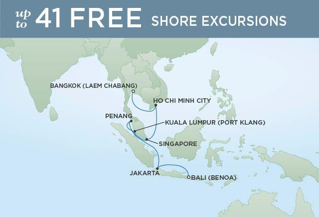 Regent Cruises | 14-Nights from Bali to Bangkok Cruise Iinerary Map
