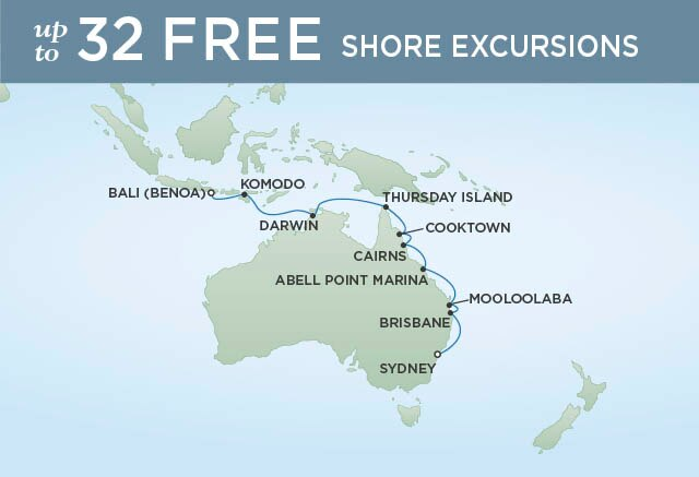 Regent Cruises | 16-Nights from Sydney to Bali Cruise Iinerary Map