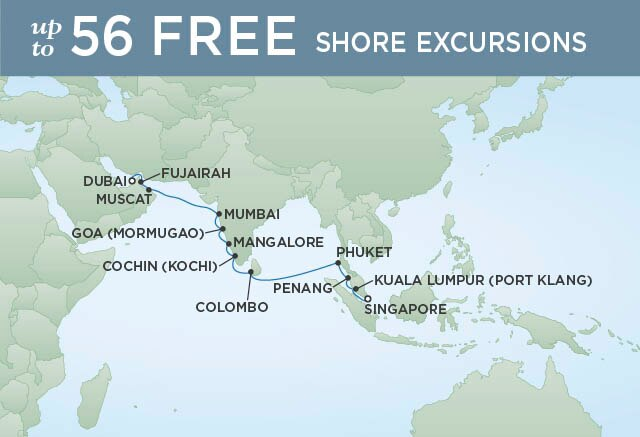 Regent Cruises | 18-Nights from Singapore to Dubai Cruise Iinerary Map