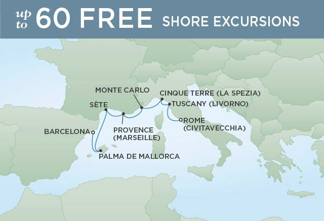 Regent Cruises   8-Nights from Rome to Barcelona Cruise Iinerary Map