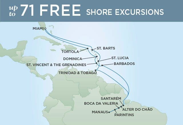 Regent Cruises | 24-Nights Roundtrip from Miami Cruise Iinerary Map