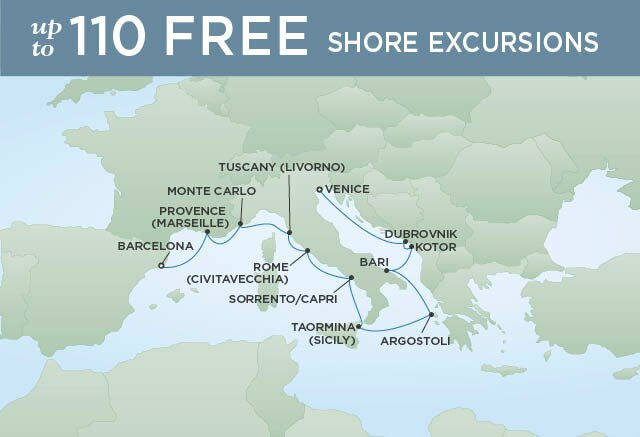 Regent Cruises | 12-Nights from Barcelona to Venice Cruise Iinerary Map