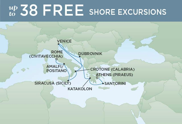 Regent Cruises | 10-Nights from Rome to Athens Cruise Iinerary Map