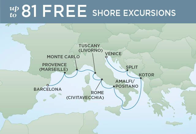 Regent Cruises | 10-Nights from Barcelona to Venice Cruise Iinerary Map
