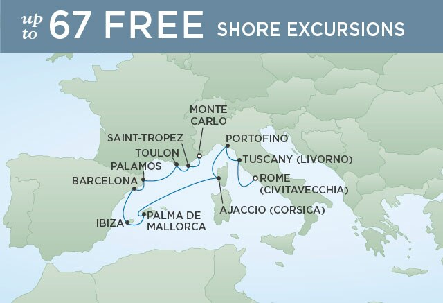 Regent Cruises | 10-Nights from Rome to Monte-Carlo Cruise Iinerary Map