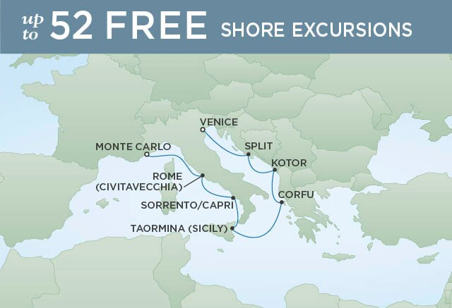 Regent Cruises | 7-Nights from Monte-Carlo to Venice Cruise Iinerary Map