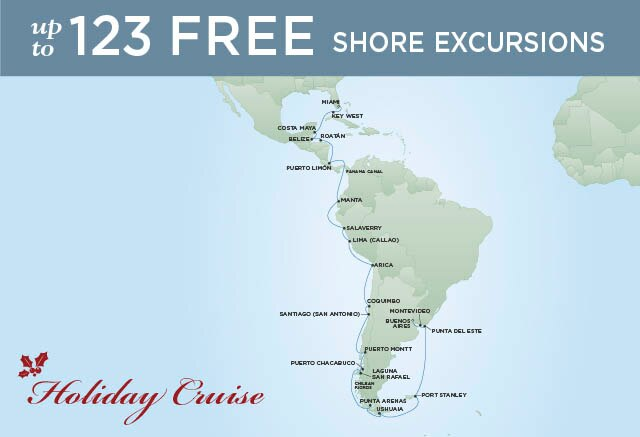 Regent Cruises | 34-Nights from Buenos Aires to Miami Cruise Iinerary Map
