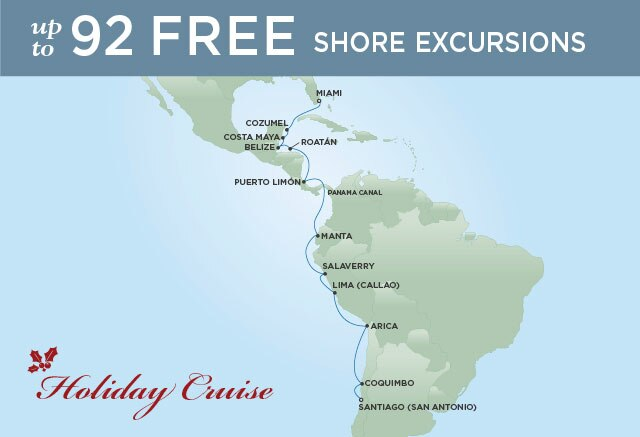 Regent Cruises | 18-Nights from Santiago to Miami Cruise Iinerary Map