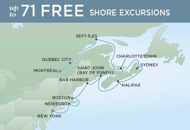 Regent Cruises | 12-Nights from New York to Montreal Cruise Iinerary Map
