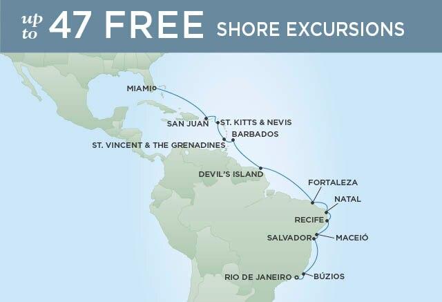 Regent Cruises | 18-Nights from Miami to Rio de Janeiro Cruise Iinerary Map