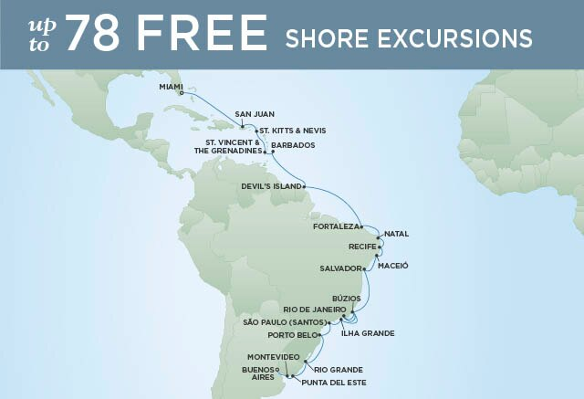 Regent Cruises | 28-Nights from Miami to Buenos Aires Cruise Iinerary Map