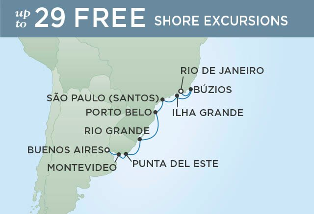 Regent Cruises | 10-Nights from Rio de Janeiro to Buenos Aires Cruise Iinerary Map