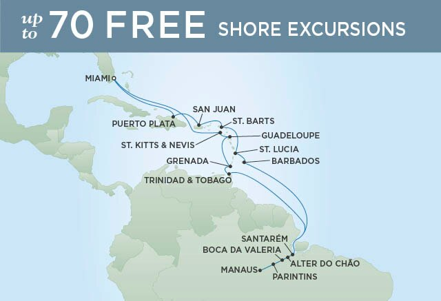 Regent Cruises | 25-Nights Roundtrip from Miami Cruise Iinerary Map