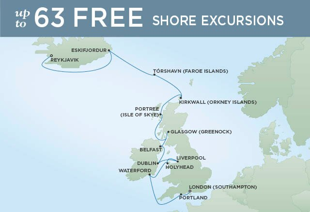 Regent Cruises | 14-Nights from Reykjavik to London Cruise Iinerary Map