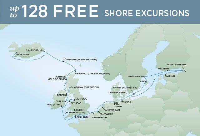 Regent Cruises   30-Nights from Reykjavik to Copenhagen Cruise Iinerary Map
