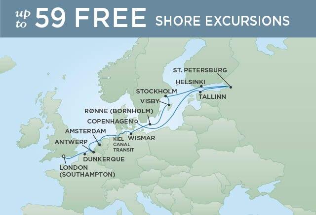 Regent Cruises   16-Nights from London to Copenhagen Cruise Iinerary Map