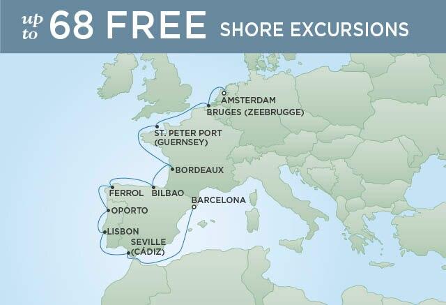 Regent Cruises | 12-Nights from Amsterdam to Barcelona Cruise Iinerary Map
