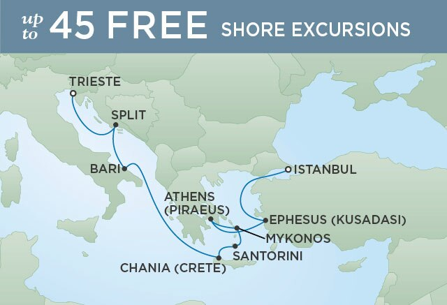 Regent Cruises | 10-Nights from Venice to Istanbul Cruise Iinerary Map