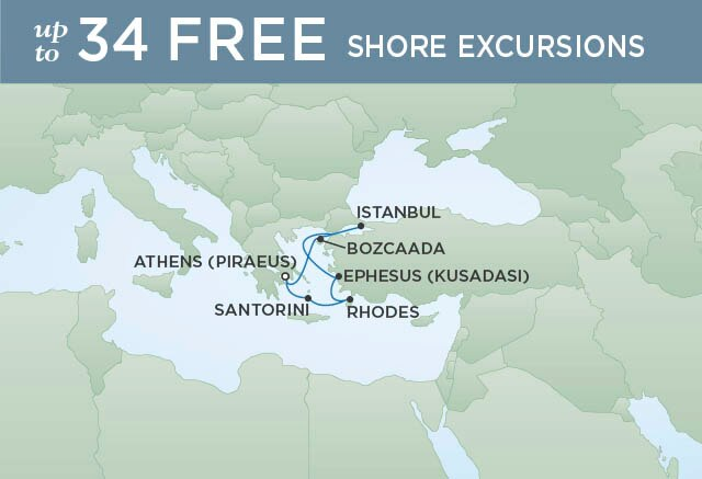 Regent Cruises | 7-Nights Roundtrip from Athens Cruise Iinerary Map