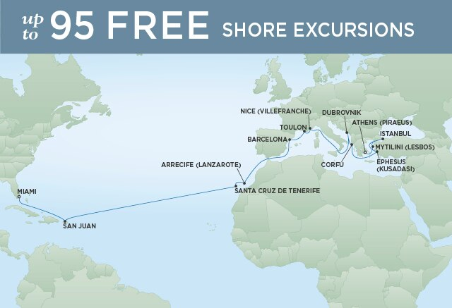 Regent Cruises | 26-Nights from Athens to Miami Cruise Iinerary Map