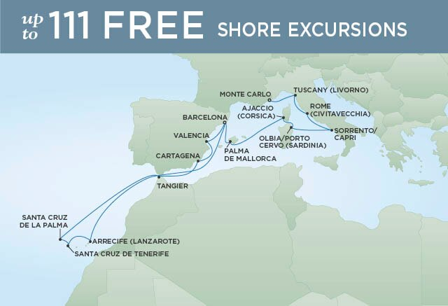 Regent Cruises | 17-Nights from Barcelona to Monte-Carlo Cruise Iinerary Map