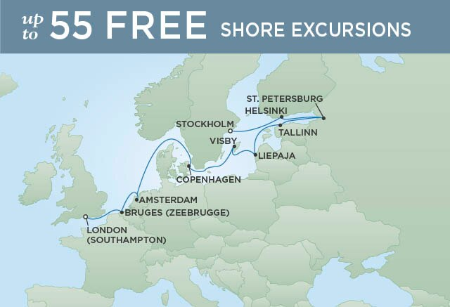 Regent Cruises | 12-Nights from Stockholm to London Cruise Iinerary Map