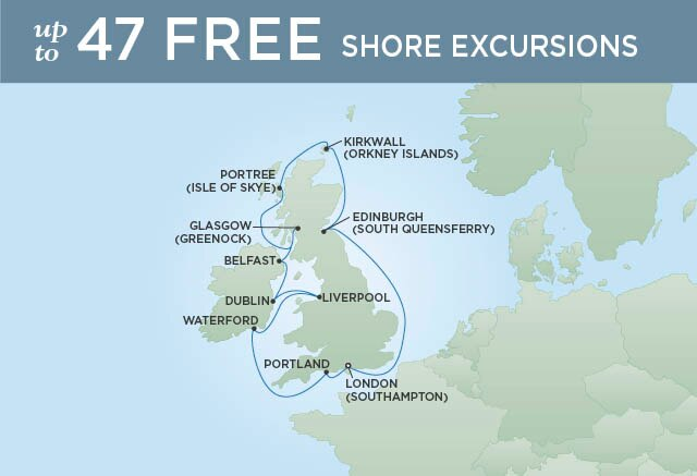 Regent Cruises | 11-Nights Roundtrip from London Cruise Iinerary Map