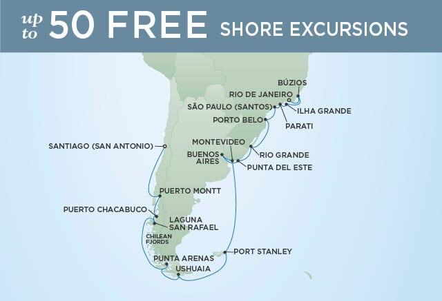 Regent Cruises | 26-Nights from Rio de Janeiro to Santiago Cruise Iinerary Map