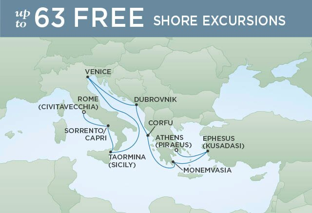 Regent Cruises | 10-Nights from Athens to Rome Cruise Iinerary Map