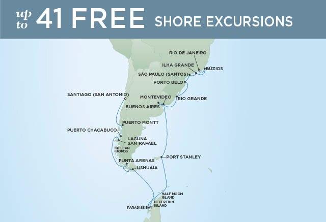 Regent Cruises | 29-Nights from Santiago to Rio de Janeiro Cruise Iinerary Map