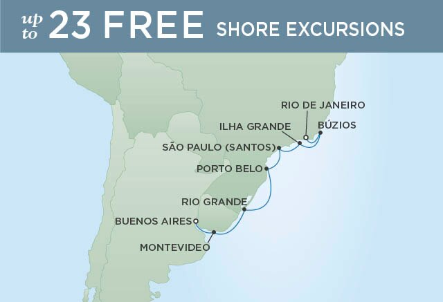 Regent Cruises | 10-Nights from Buenos Aires to Rio de Janeiro Cruise Iinerary Map