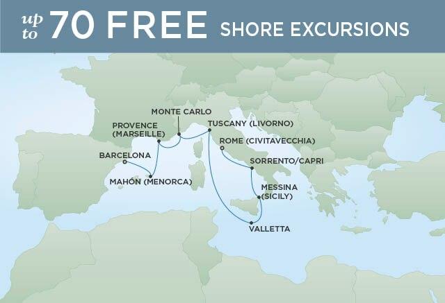 Regent Cruises | 10-Nights from Barcelona to Rome Cruise Iinerary Map