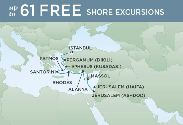 Regent Cruises | 10-Nights from Istanbul to Jerusalem Cruise Iinerary Map