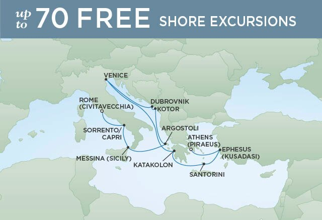 Regent Cruises   12-Nights from Rome to Athens Cruise Iinerary Map