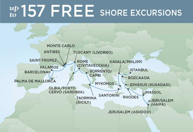 Regent Cruises | 23-Nights from Jerusalem to Barcelona Cruise Iinerary Map