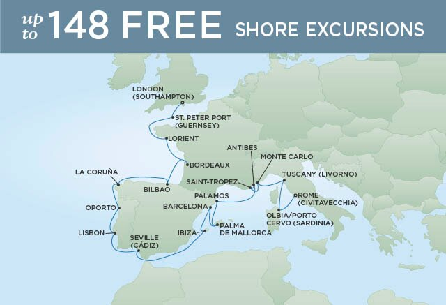 Regent Cruises | 20-Nights from Rome to London Cruise Iinerary Map