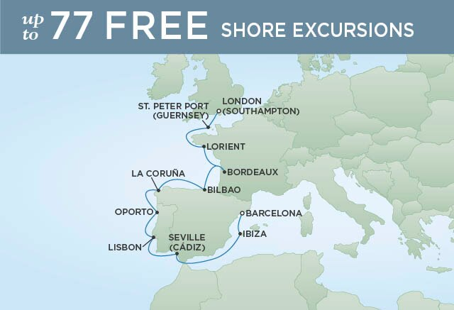 Regent Cruises | 12-Nights from Barcelona to London Cruise Iinerary Map