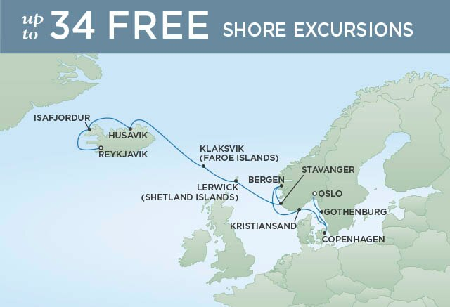 Regent Cruises | 12-Nights from Reykjavik to Oslo Cruise Iinerary Map