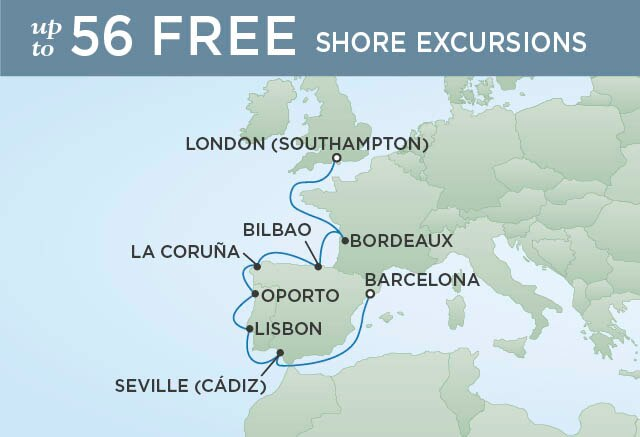 Regent Cruises | 10-Nights from London to Barcelona Cruise Iinerary Map