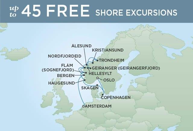 Regent Cruises | 12-Nights from Oslo to Amsterdam Cruise Iinerary Map