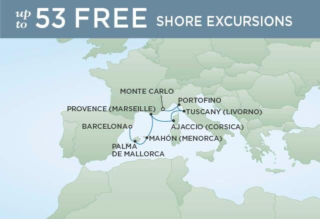 Regent Cruises | 9-Nights from Barcelona to Monte-Carlo Cruise Iinerary Map