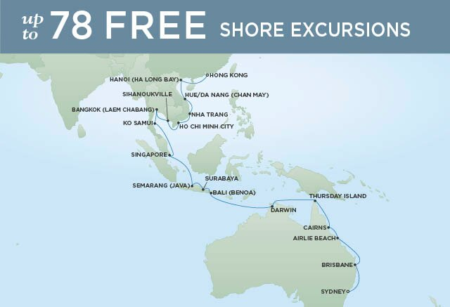Regent Cruises | 32-Nights from Hong Kong to Sydney Cruise Iinerary Map