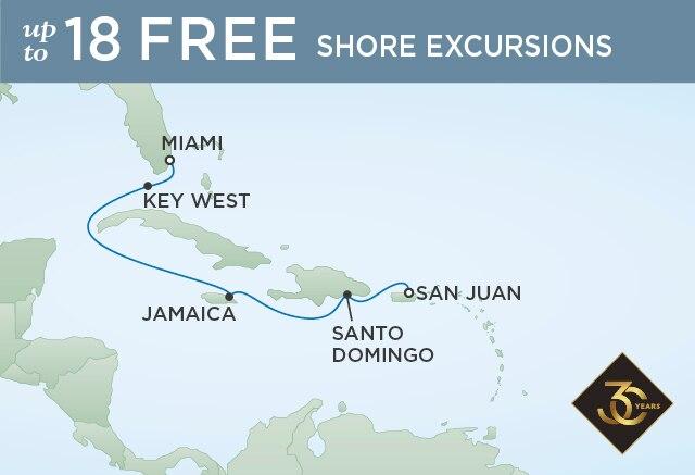 Regent Cruises | 7-Nights from Miami to San Juan Cruise Iinerary Map