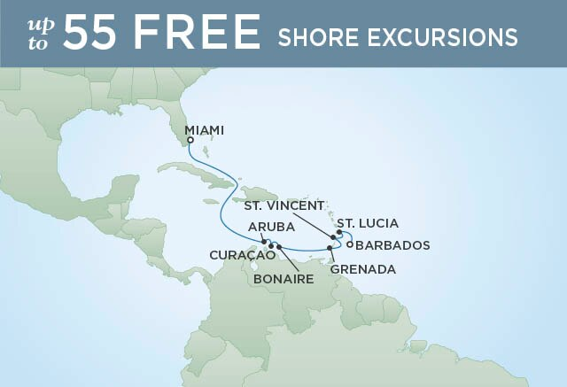 Regent Cruises | 10-Nights from Miami to Bridgetown Cruise Iinerary Map