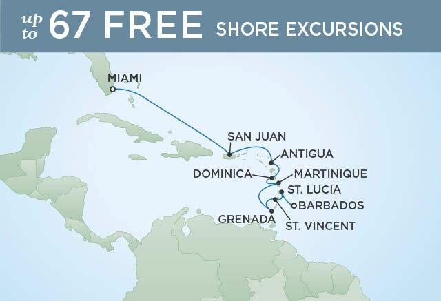 Regent Cruises | 10-Nights from Bridgetown to Miami Cruise Iinerary Map