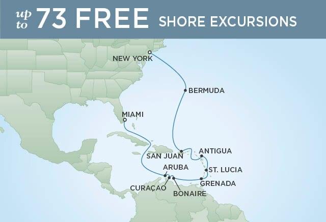 Regent Cruises | 15-Nights from Miami to New York Cruise Iinerary Map