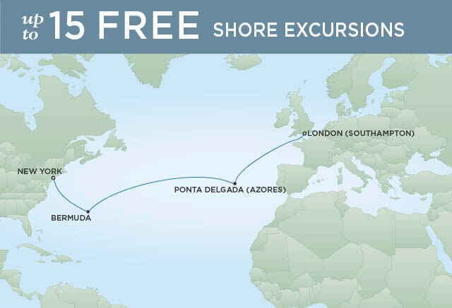 Regent Cruises | 12-Nights from New York to London Cruise Iinerary Map