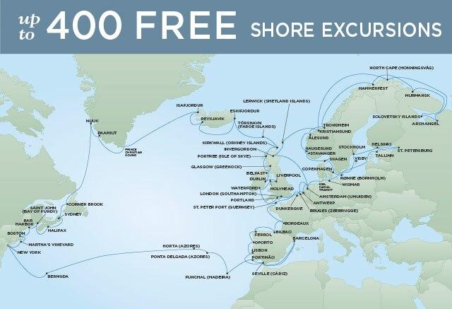 Regent Cruises | 94-Nights Roundtrip from New York Cruise Iinerary Map